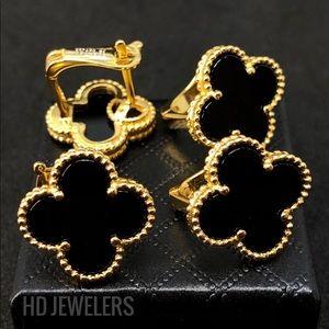 Jewelry - Black Four Leaf Clover 18K Gold Trendy Earrings